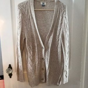 Cotton blend v neck cable cardigan
